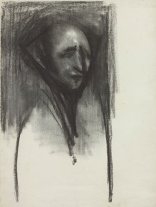 David Bomberg, Self Portrait, 1938, Charcoal on Paper, 25 x 34 cms