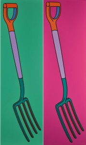 Michael Craig – Martin Pitchfork on Green, Pitchfork on Pink 2003 Acrylic on Canvas 153 x 46 cms (60 x 18 inches)