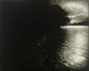Sarah Gillespie, Ebbtide, 2017, Charcoal and Oil on gesso panel, 16 x 20 inches