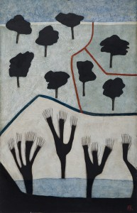Black Trees (2014), Oil on Wood, 76.2 x 49.5cm (30 x 19.5 inches)