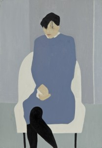 Seated Figure White Chair (2015), Oil on Wood, 79 x 54.6cm (31 x 21.5 inches)