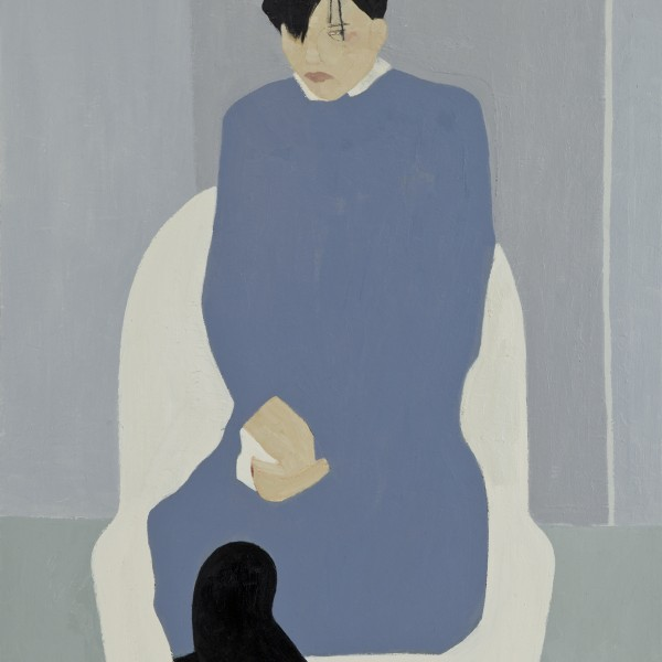 Seated Figure White Chair (2015), Oil on Wood, 79 x 54.6cm