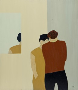 Two Figures and Reflection (2015), Oil on Wood, 61 x 71.2cm