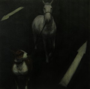 Follow the Leader (2014), Oil on Linen, 35.5 x 35.5cm (14 x 14 inches)