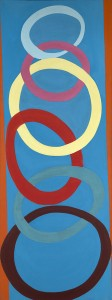 Terry Frost, Hanging Forms, 1971, Acrylic on canvas 244 x 92 cm (96 x 36 inches)