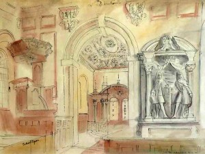 Interior of St Peters Gayhurst, Buck (1940), Watercolour, 38 x 53.5cm (15 x 21 inches)