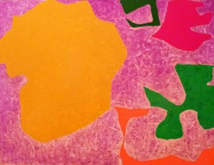 Patrick Heron, Five in Scribbled Violet (1971-73), Oil on Canvas, 76 x 101cm (30 x 40 inches)