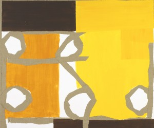 Orange Yellow Connection (2005), Acrylic and Hessian on Canvas, 150 x 180cm (59 x 71 inches)