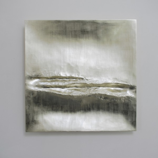Atlantic III (2014), 12ct White Gold on Carved Wood, 85 x 85cm