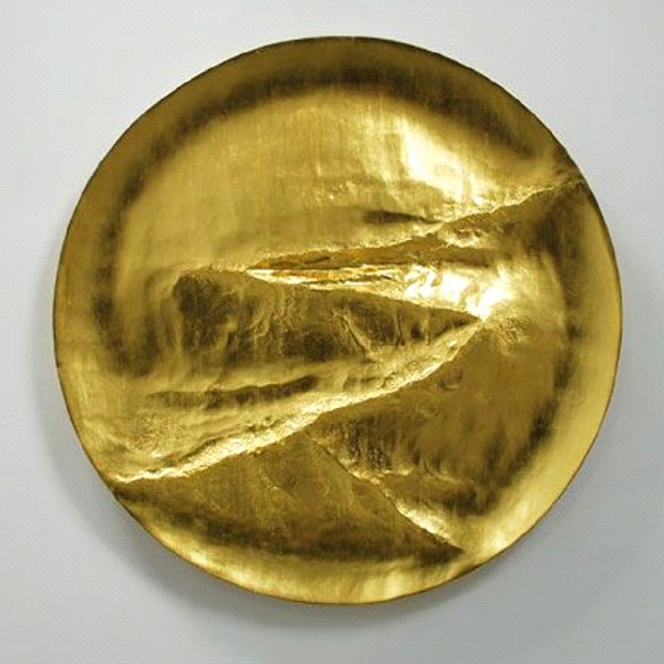 Path (2014), 22ct Gold on Carved Wood, 112cm