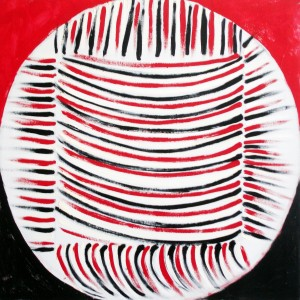 Red, Black and White Delight (1993), Acrylic on Canvas, 106.6 x 106.6cm