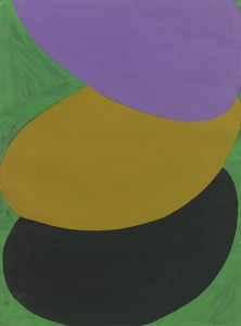 Suspended Purple, Ochre, Green and Black, Acrylic and Gouache, 76 x 56cm (30 x 22 inches)