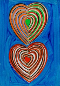 Two Hearts (c.1990), Acrylic and Collage on Board, 36 x 25.5cm