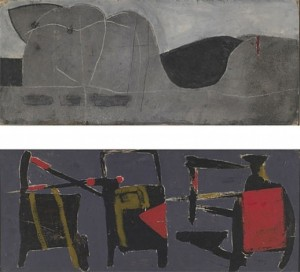 Double Sided (1953/57), Oil on Board, 32.4 x 80cm (12.75 x 31.5 inches). Recto: signed and dated 'Hilton 53'. Verso: signed and dated 'Hilton 57'