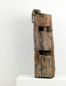 Give Me Shelter (2012), Bronze and Found Wood, Unique, 106 x 27 x 27 cm