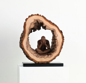 Encircled Time (2012), Bronze and Found Wood, Unique, 32 x 27 x 15 cm