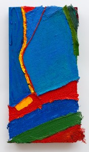 Electricity (2011), Acrylic and Pumice on Bootlace, Fruit Netting, Hessian Scrim, Plastic Netting, Cloth and Canvas, 24 x 12 inches