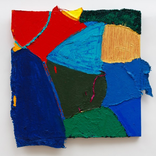 Mirror Man (2011), Acrylic and Pumice on Hessian Scrim, Sacking, Cloth, Vegetable Netting and Canvas, 30 x 30 inches