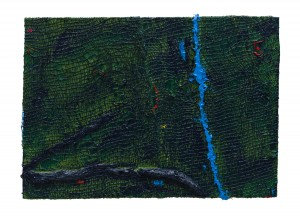 Anthony Frost, Luminous Tracks,  2014, Acrylic and pumice on hessian scrim and canvas, 17 x 23 inches