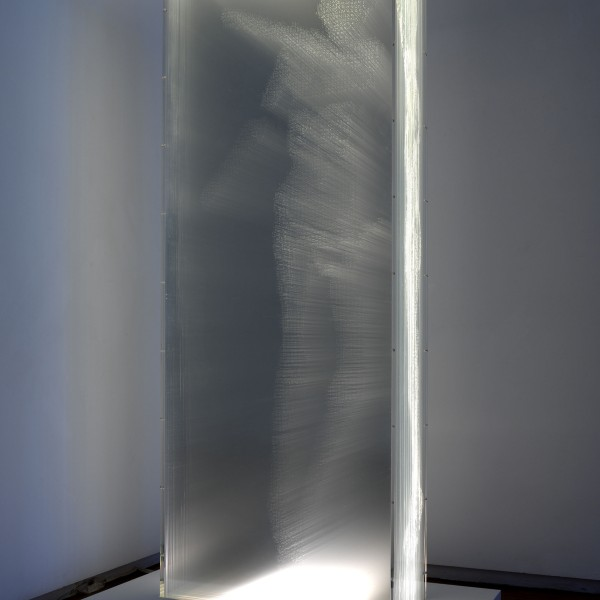 Ötzi: Frozen, Scanned & Plotted (2006), Acrylic and Light, Edition of 6, 165 x 63.5 x 25cm (Plinth 20x100x65cm)