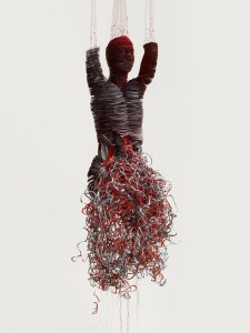 Protest (2010), Laser Prints on Card, Red Ink, Bonded Nylon and Seed Beads, Edition of 3, H180 x W60 x D60cm
