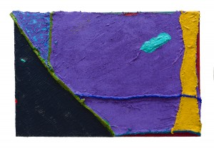 """""""SPACE ECHO """"size 24""""X 35"""" Acrylic and pumice on sacking, hessia"""