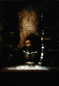 Tower of Books (1997-99), Oil on Board, 10.25 x 7.25 inches
