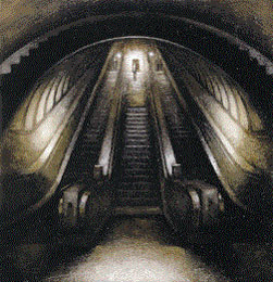 Paddington Escalator, W2 (1998-99), Oil on Board, 17 x 16.5 inches