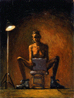 Self Portrait with Boots (1994), Oil on Board, 9.5 x 7.25 inches