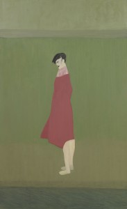 Anne Rothenstein, Red Coat, Oil on Wood, 100 x 61 cm, 39.37 x 24 ins