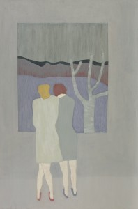 Anne Rothenstein, Two Figures / Grey Room, Oil on Wood, 91 x 61 cm, 35.8 x 24 ins