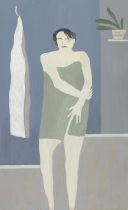 Anne Rothenstein, White figure in Green Towel, Oil on Wood, 99 x 61 cm, 39.3 x 24 ins
