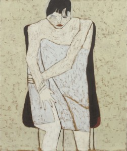 Anne Rothenstein, White  Figure in a Towel, Oil on Wood, 61 x 51 cm, 24.2 x 20.2 ins