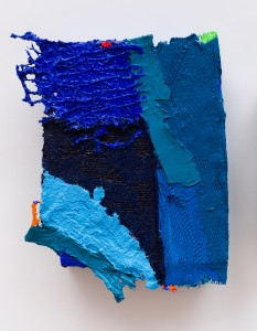Anthony Frost, Blue Sail, 2015, Acrylic and Pumice on plastic netting, hessian scrim, hessian and canvas, 10 x 7.5 inches
