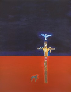 Craigie Aitchison, Crucifixion, 2001 Silkscreen, 140 x 109 cm (55.02 x 42.84 inches)  Edition of 75