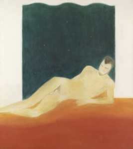 Craigie Aitchison, Figure and Orange Blanket, 1975, Oil on Canvas, 163 x 145 cm (64.2 x 57.1 inches)