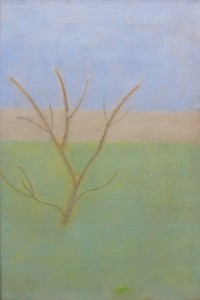 Craigie Aitchison, Garden at Tulliallan c. 1958, Oil on Canvas, 9 x 6 inches