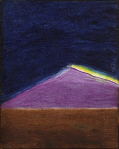 Craigie Aitchison, Landscape with Mountain (Holy Island), 1977, Oil on canvas, 38 x 30 cm (15 x 113⁄4 inches)