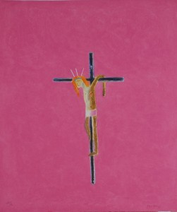 Craigie Aitchison, Pink Crucifixion 2004, Etching, 76.2 x 62.5 cm (29.95 x 24.56 ins) Edition of 50