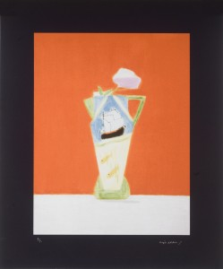 Craigie Aitchison, Still Life on Vermillion 2008, Screenprint,  46 x 56 cm, AP aside  from the edition of 85