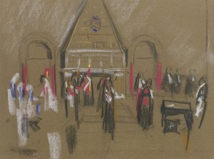 David Bomberg, Armenian Church, Jerusalem, 1923, Charcoal and coloured chalk on Paper, 45 x 61 cms