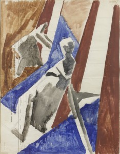 David Bomberg, Bargees, 1919, Watercolour on Paper, 57 x 43 cms
