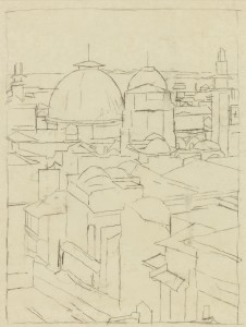 David Bomberg, Church of the Holy Sepulchre, 1925, Pen and Ink on Paper, 34 x 26 cms