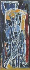 David Bomberg, Figure Composition 1919, Stable Interior series, 1919, Oil on paper on board, 89 x 38 cms