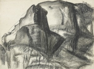 David Bomberg, Mountains of Astorias, 1935, Charcoal on Paper on board, 47 x 63 cms