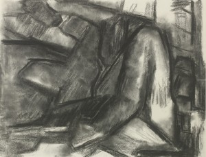 David Bomberg, Nude Figure Composition, 1946, Charcoal on Paper, 45 x 59 cms