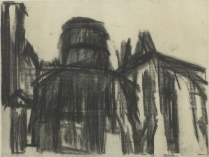 David Bomberg, Round Church, Middle Temple, 1944, Charcoal and Watercolour, 47 x 62 cms