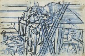 David Bomberg, FG Sappers Under Hill 60, 1919, Crayon and Ink, 12 x 19 cms