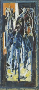 David Bomberg, Composition 1919, Stable Interior, Riders on Horseback, 1919,  Oil on paper on board, 88 x 37 cms