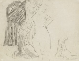 David Bomberg, Study for Magdalenian, Theme 1920, 43 x 56 cms